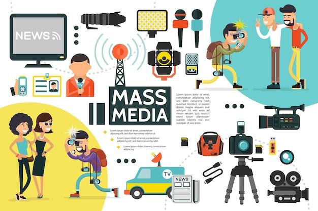 Modelo de infográfico de mídia de massa plana com repórter, cartão de identificação, microfones, câmeras de carro de notícias