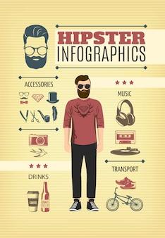 Modelo de infográfico de moda leve hipster