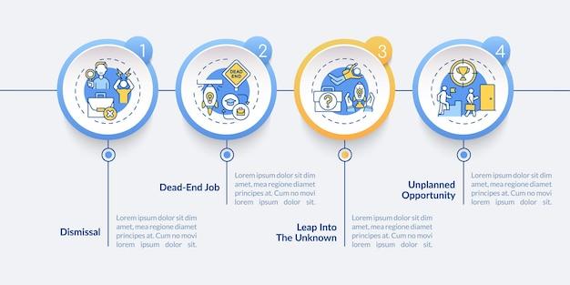 Modelo de infográfico de motivos de transição de trabalho. causas para abandonar os elementos de design da apresentação.