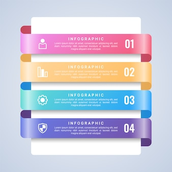Modelo de infográfico de negócios 3d colorido