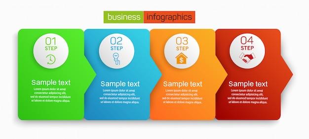 Modelo de infográfico de negócios 4 opções ou etapas