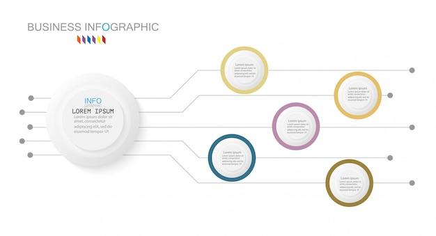 Modelo de infográfico de negócios. 5 opções ou etapas