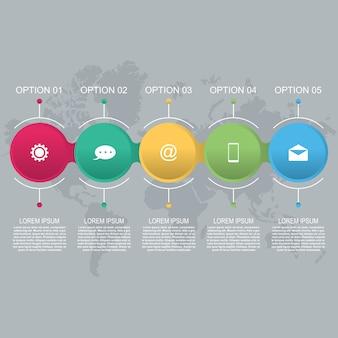 Modelo de infográfico de negócios abstratos círculo conectado acorrentado