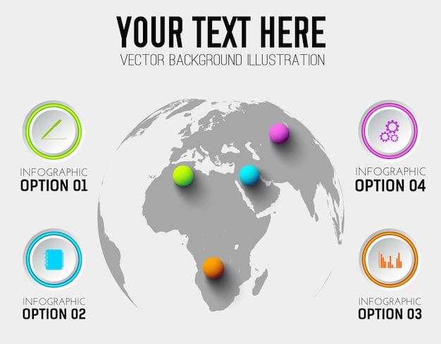 Modelo de infográfico de negócios abstratos com ícones de círculos e bolas coloridas no mapa mundial