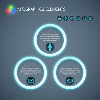 Modelo de infográfico de negócios abstratos com texto de círculos de néon e ícones isolados