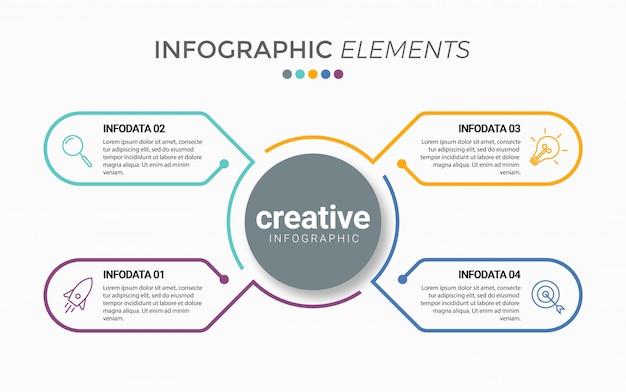 Modelo de infográfico de negócios apresentação com 4 opções