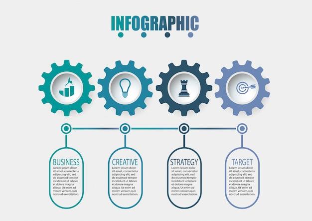 Modelo de infográfico de negócios apresentação com 4 opções.
