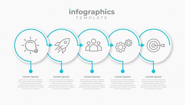Modelo de infográfico de negócios apresentação com 5 opções. ilustração.