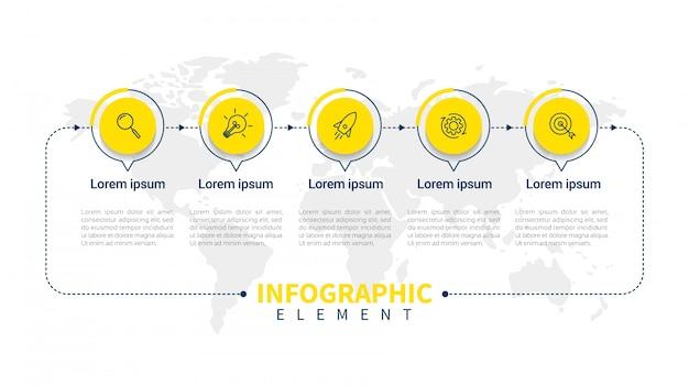 Modelo de infográfico de negócios apresentação com 5 opções.