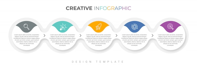 Modelo de infográfico de negócios apresentação com 5 opções