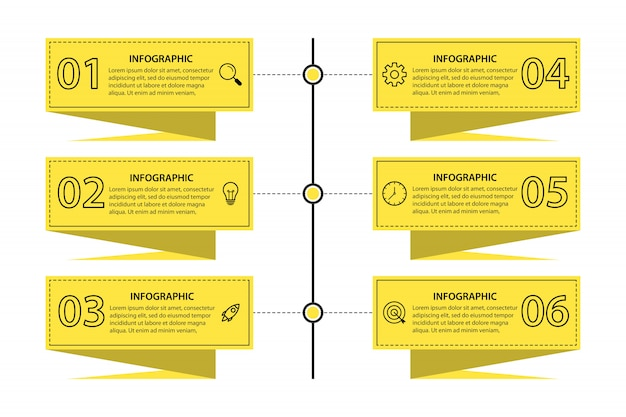 Modelo de infográfico de negócios apresentação com 6 opções
