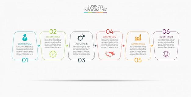 Modelo de infográfico de negócios apresentação com 6 opções.