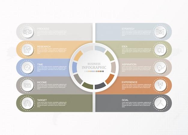 Modelo de infográfico de negócios apresentação com ícones e 10 opções ou etapas.