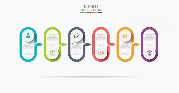 Modelo de infográfico de negócios apresentação com seis opções.