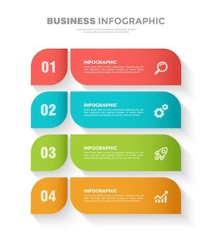 Modelo de infográfico de negócios colorido de 4 etapas
