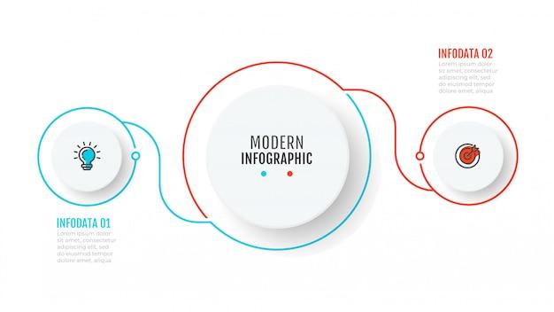 Modelo de infográfico de negócios com 2 etapas