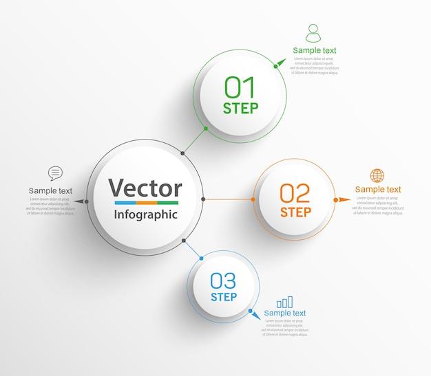 Modelo de infográfico de negócios com 3 etapas ou opções
