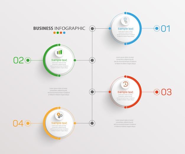 Modelo de infográfico de negócios com 4 opções