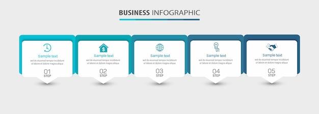 Modelo de infográfico de negócios com 5 opções ou etapas