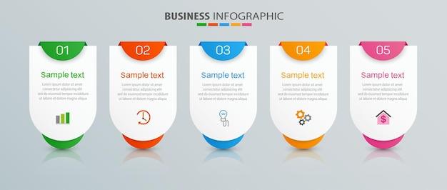 Modelo de infográfico de negócios com 5 opções