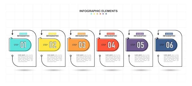 Modelo de infográfico de negócios com 6 etapas