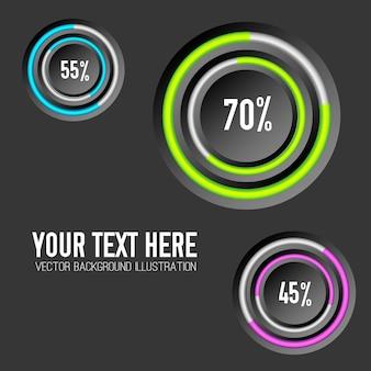 Modelo de infográfico de negócios com anéis coloridos de três círculos e taxas percentuais