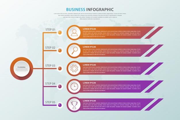Modelo de infográfico de negócios com cinco opções