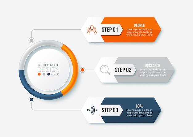 Modelo de infográfico de negócios com diagrama