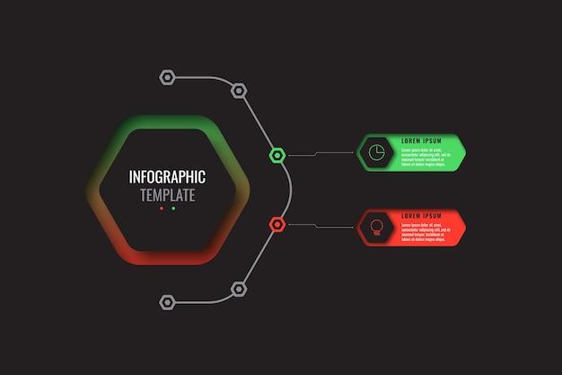 Modelo de infográfico de negócios com dois elementos hexagonais realistas com ícones de linha fina em fundo preto. diagrama moderno com orifícios geométricos no papel. visualização para apresentações