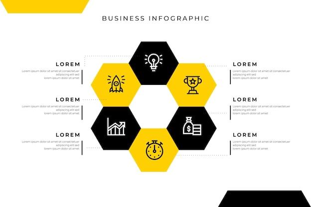 Modelo de infográfico de negócios com favo de mel