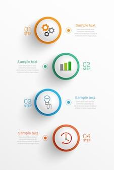 Modelo de infográfico de negócios com ícones e 4 opções ou etapas