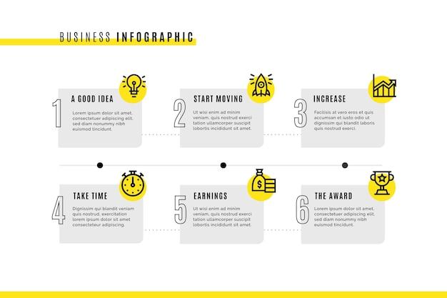 Modelo de infográfico de negócios com ícones