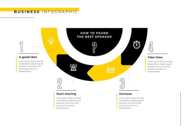 Modelo de infográfico de negócios com meio círculo
