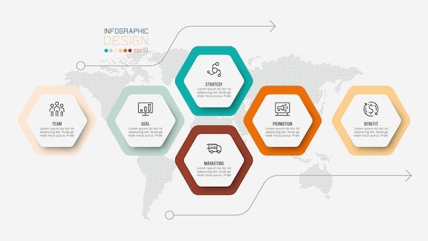 Modelo de infográfico de negócios com opções