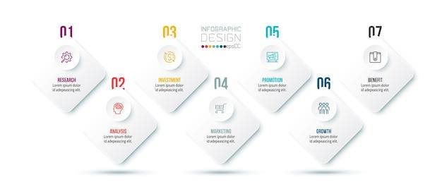 Modelo de infográfico de negócios com projeto de etapa ou opção.