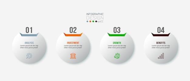 Modelo de infográfico de negócios com projeto de etapa ou opção. Vetor Premium