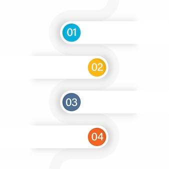 Modelo de infográfico de negócios com quatro opções em fundo branco.