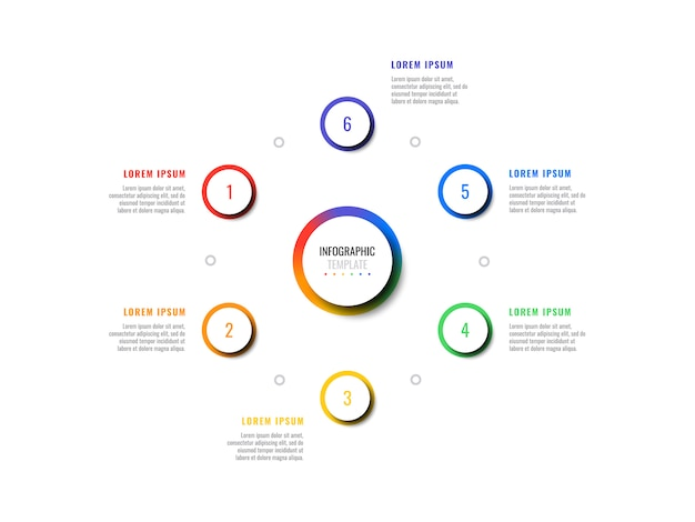 Modelo de infográfico de negócios com seis elementos realistas redondos em um fundo branco. visualização de dados vetoriais modernos com caixas de texto.