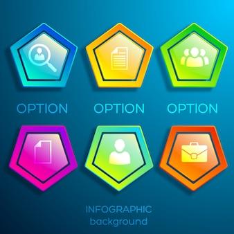 Modelo de infográfico de negócios com seis ícones e hexágonos de luz coloridos brilhantes