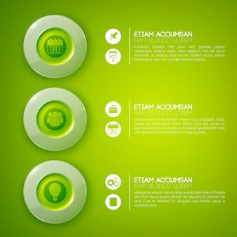 Modelo de infográfico de negócios com texto três círculos brilhantes e ícones