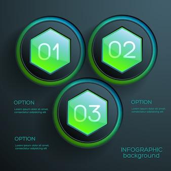 Modelo de infográfico de negócios com três elementos e texto hexagonais coloridos da web
