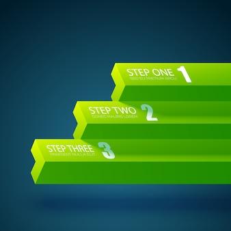 Modelo de infográfico de negócios com três etapas