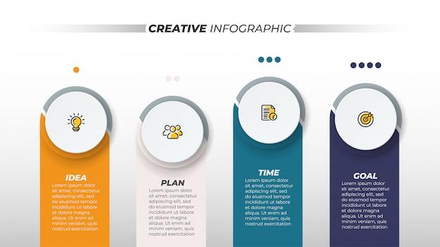 Modelo de infográfico de negócios. conceito criativo de vetor com ícone de marketing e 4 etapas, opções. pode ser usado para layout de fluxo de trabalho, gráfico de informações, gráfico, design de quarta-feira.