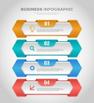Modelo de infográfico de negócios de 4 etapas com gradiente suave