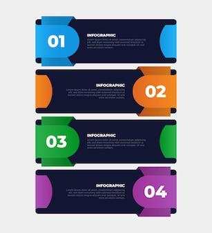 Modelo de infográfico de negócios de 4 etapas