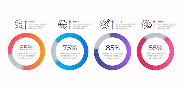 Modelo de infográfico de negócios de 4 opções