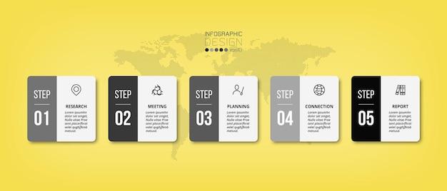 Modelo de infográfico de negócios de 5 etapas ou opção.