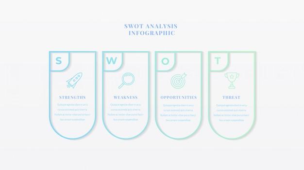 Modelo de infográfico de negócios de análise swot