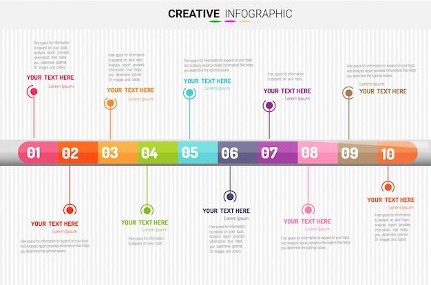 Modelo de infográfico de negócios de apresentação, 10 passos. ilustração vetorial.