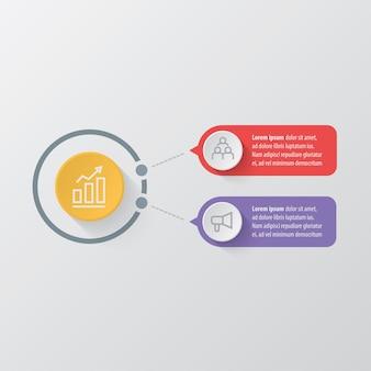 Modelo de infográfico de negócios de apresentação com 2 opções